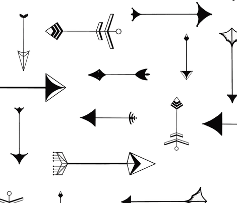 Paper Arrows black&white fabric by domesticate on Spoonflower - custom fabric