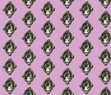 Cameo Girl with cogs - Pale Purple/ pink fabric by nezumiworld on Spoonflower - custom fabric