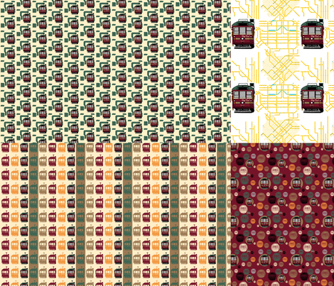 Tram 4 in 1 Co-ordinates fabric by upcyclepatch on Spoonflower - custom fabric