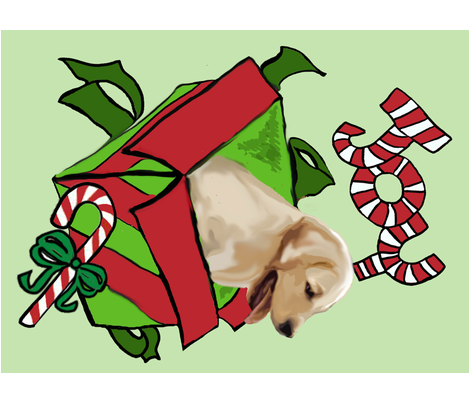 Yellow Lab cut and sew Christmas wall Hanging fabric by dogdaze_ on Spoonflower - custom fabric