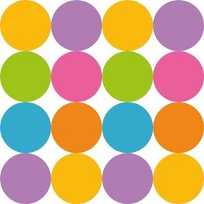 Pastel Rainbow dots in yellow purple green blue pink and orange