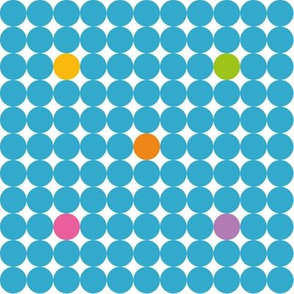 Blue dots with orange yellow green pink and purple spots