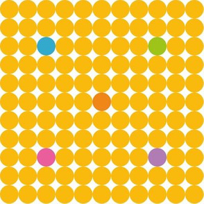 Yellow Dots with green purple blue orange and pink spots