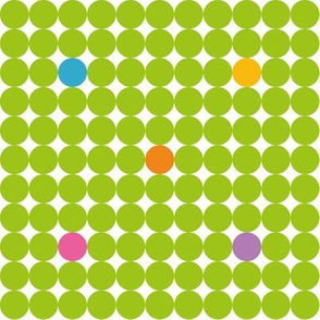 Green Dots with blue yellow orange pink and purple spots