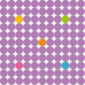 Purple dots in with yellow orange green and blue spots