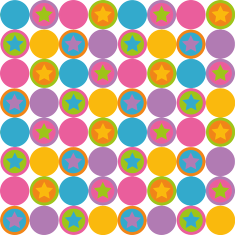 Pastel stars and dots in pink blue green yellow orange and purple