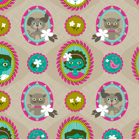 Mum, Dad & the Family Pets fabric by zesti on Spoonflower - custom fabric