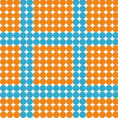Orange dots with blue dotted stripes
