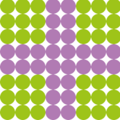 Green dots with purple stripes.