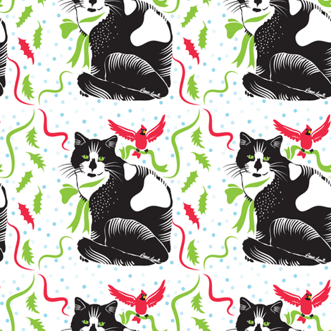 Snow Cat fabric by dianne_annelli on Spoonflower - custom fabric