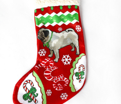 Cut and Sew Pug Dog Christmas stocking