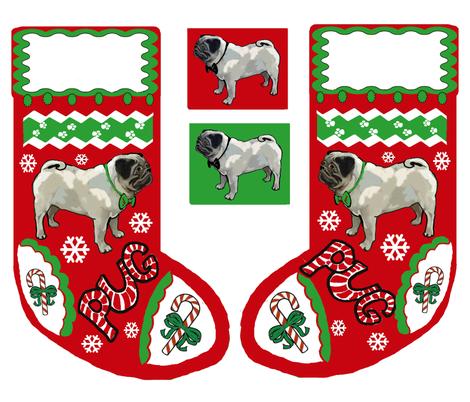 Cut and Sew Pug Dog Christmas stocking  fabric by dogdaze_ on Spoonflower - custom fabric
