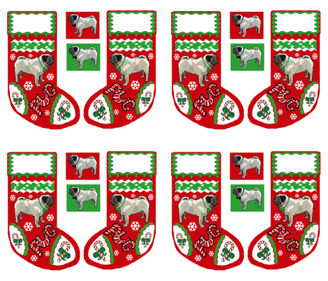 Cut and Sew Pug Dog Christmas stocking  fabric by dogdaze_ on Spoonflower - custom fabric