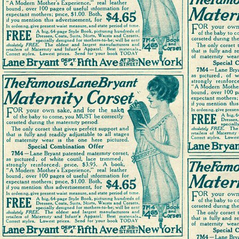 1918 Maternity Corset Advertisement fabric by edsel2084 on Spoonflower - custom fabric