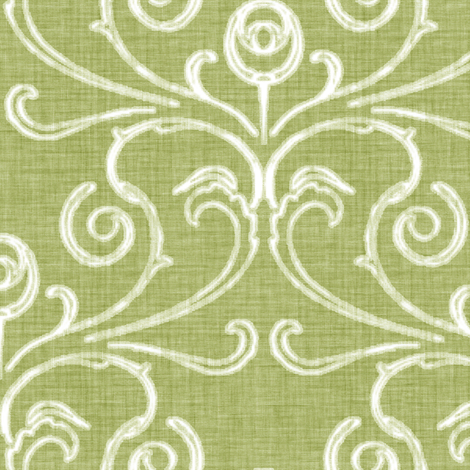Faded French Rose - Green fabric by kristopherk on Spoonflower - custom fabric