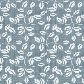 Faded French Rose Leaves - Blue