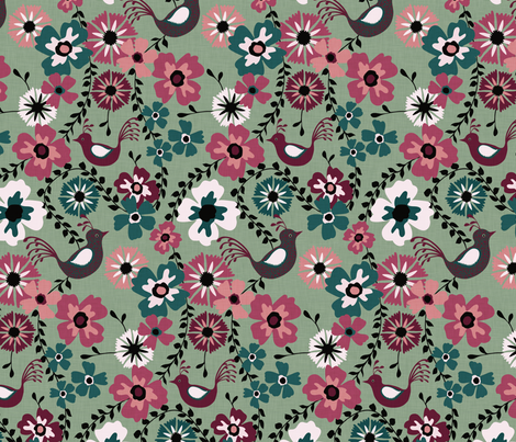 Floral and Bird Green