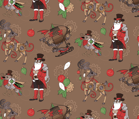 Steampunk Christmas fabric by urban_threads on Spoonflower - custom fabric