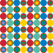 Colourfull stars and dots in red green yellow and blue