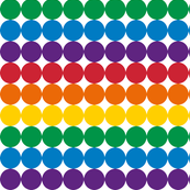 Dots in rainbow colours.