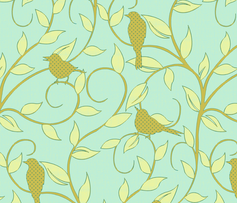 serene songbird aqua fabric by littlerhodydesign on Spoonflower - custom fabric