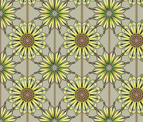 Star Floral Antique Bronze fabric by joanmclemore on Spoonflower - custom fabric