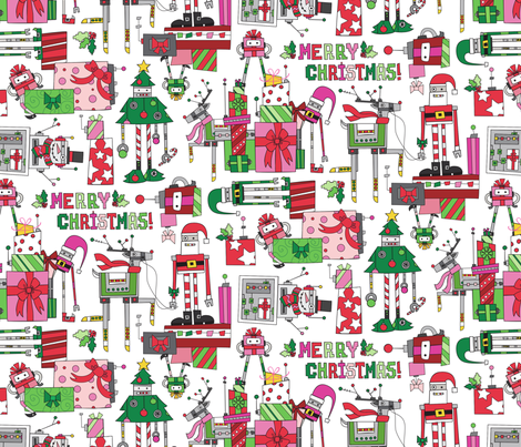 Robot Christmas fabric by urban_threads on Spoonflower - custom fabric