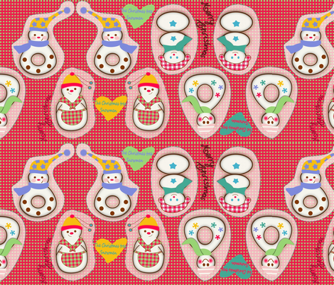 The Christmas tree Snowmen fabric by kato_kato on Spoonflower - custom fabric
