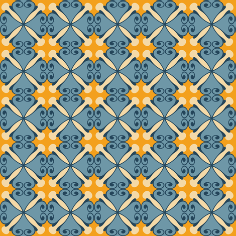 sunflowerhoneyblue fabric by lilliblomma on Spoonflower - custom fabric