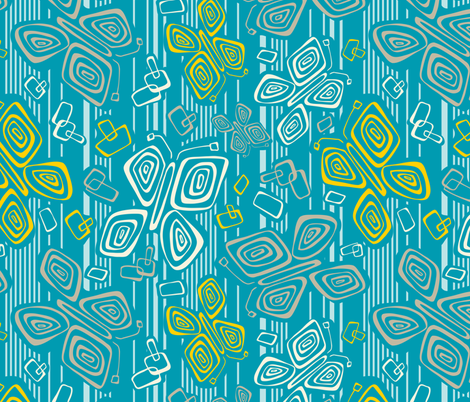 Tiki Time BFly  - Seaside Colorway fabric by heatherdutton on Spoonflower - custom fabric