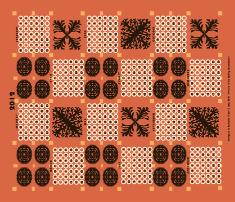 welsh blanket_2012 tea towel calendar_coral fabric by bee&lotus on Spoonflower - custom fabric
