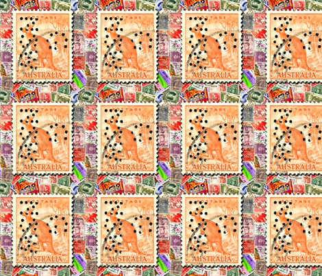 Australian_Stamp_with_Kangaroo fabric by koalalady on Spoonflower - custom fabric