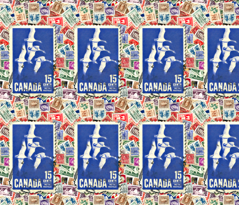 Canada_stamps_with_Geese fabric by koalalady on Spoonflower - custom fabric