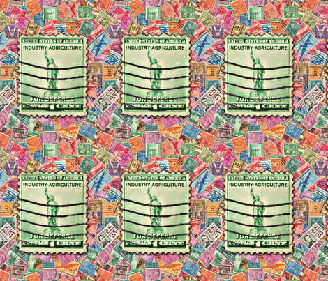 Stamps - United States with Liberty Stamp fabric by koalalady on Spoonflower - custom fabric