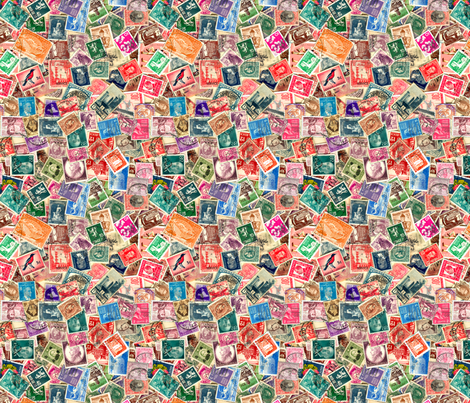 World Stamps- Second Collage fabric by koalalady on Spoonflower - custom fabric