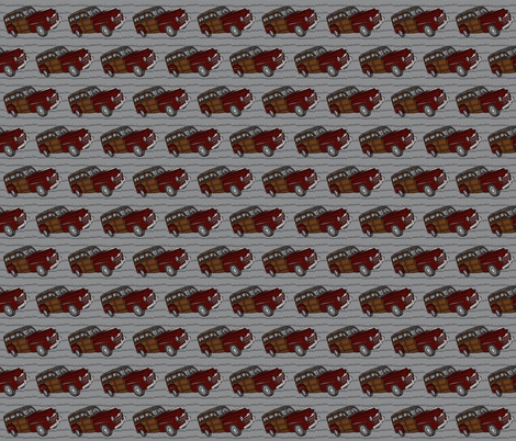 Red woodie on gray fabric by luluhoo on Spoonflower - custom fabric