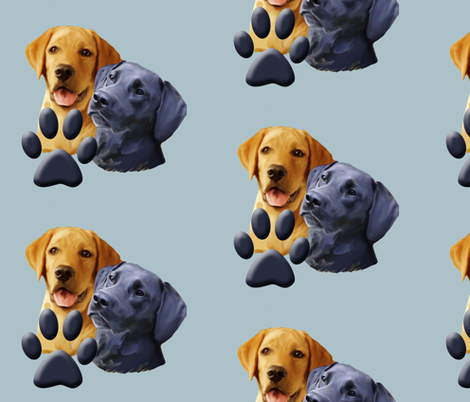 labrador_retrievers__with pawprint fabric by dogdaze_ on Spoonflower - custom fabric