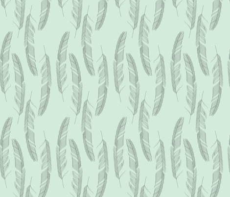 Light as a feather green fabric by danielle_b on Spoonflower - custom fabric