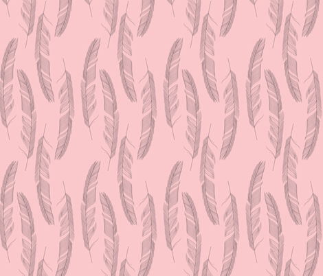 Light as a feather pink fabric by danielle_b on Spoonflower - custom fabric