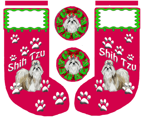 Shih_Tzu_Christmas_Stocking fabric by dogdaze_ on Spoonflower - custom fabric