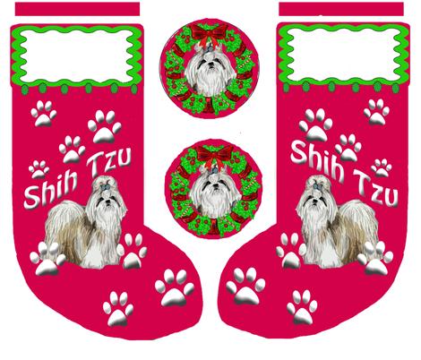 Shih_Tzu_Christmas_Stocking fabric by dogdaze_ on Spoonflower - custom fabric