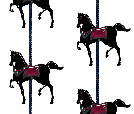 Original Black Carousel Pony fabric by pond_ripple on Spoonflower - custom fabric