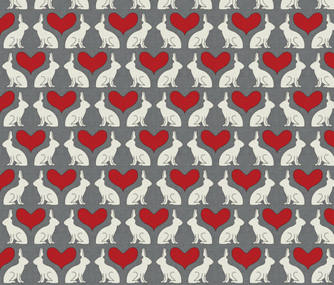 rabbit silhouettes simple fabric by holli_zollinger on Spoonflower - custom fabric