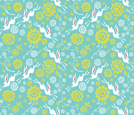 New Year Hare - Blue fabric by oddlyolive on Spoonflower - custom fabric