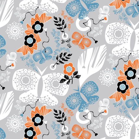 Butterflies and blossoms fabric by niceandfancy on Spoonflower - custom fabric