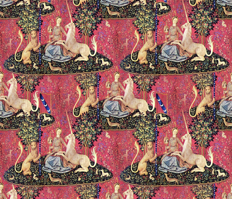 The Lady & The Unicorn Tapestry fabric by peacoquettedesigns on Spoonflower - custom fabric
