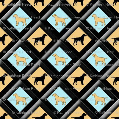 black_and_yellow_lab_diamond_pattern_24_x_24