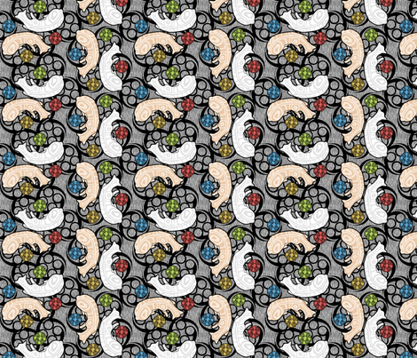 sleeping maori kitties fabric by glimmericks on Spoonflower - custom fabric