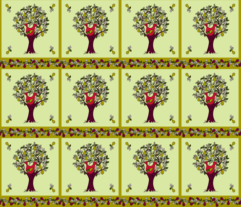 and a partridge in a pear tree fabric by woodle_doo on Spoonflower - custom fabric