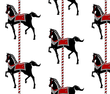 Black Carousel Pony II. fabric by pond_ripple on Spoonflower - custom fabric